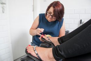 Erika, one of our podiatrists, at work