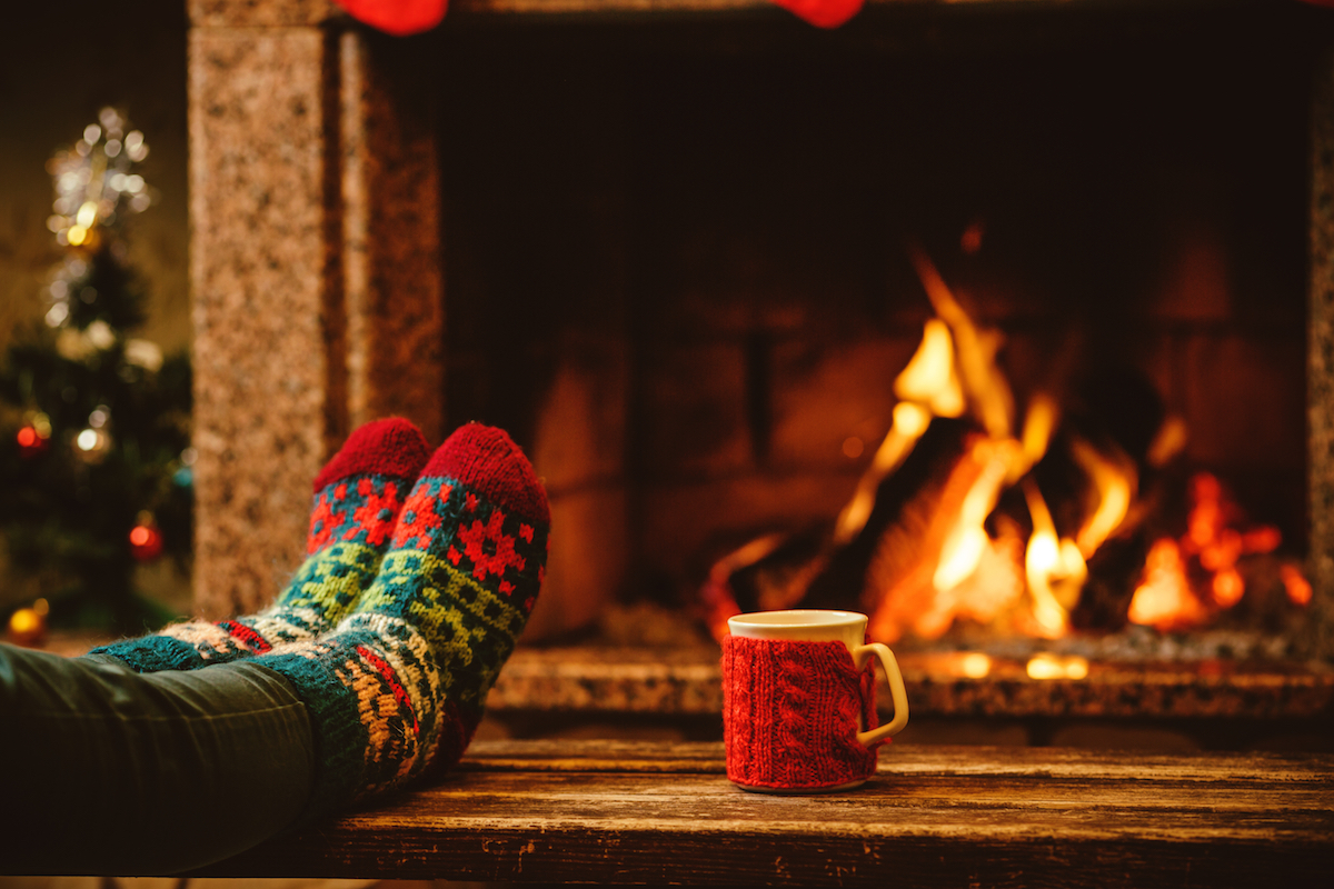 Feet by fireplace - Christmas